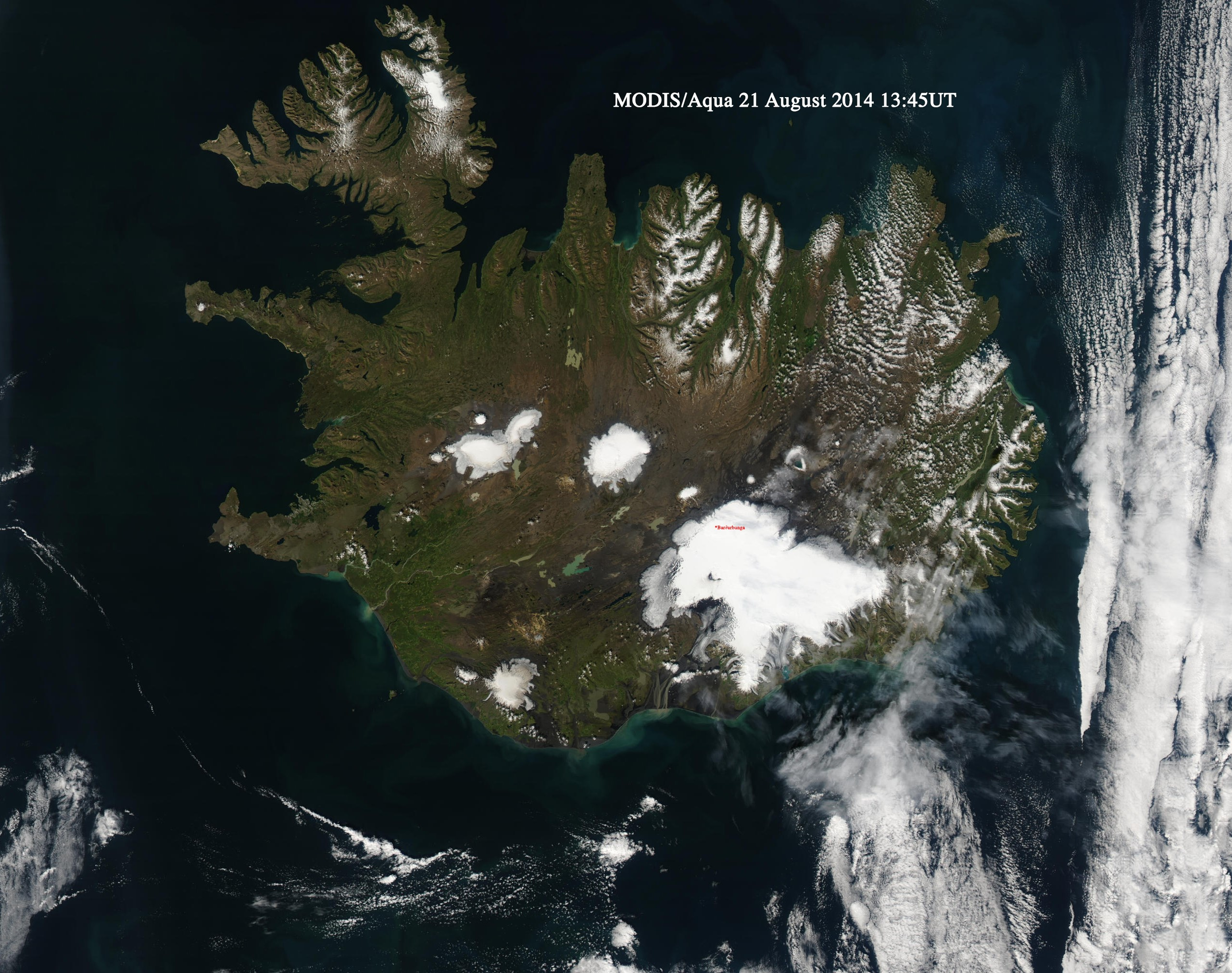 MODIS / Aqua Image of Iceland on 21st August 2014, acquired at 13:50 UTC.
